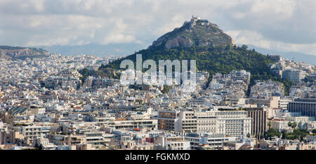 ATHENS, GREECE - OCTOBER 8, 2015: Outlook from Acropolis to Likavittos hill and the town. - Stock Photo