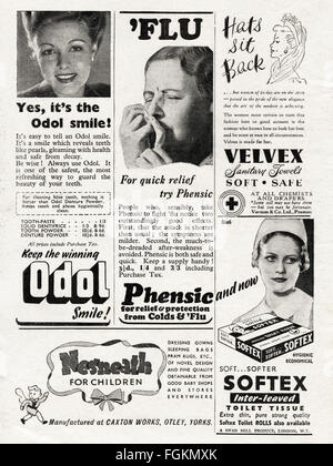 Original vintage adverts from 1940s. Advertisements dated 1947 advertising Odol Denture Powder, Phensic for colds - Stock Photo