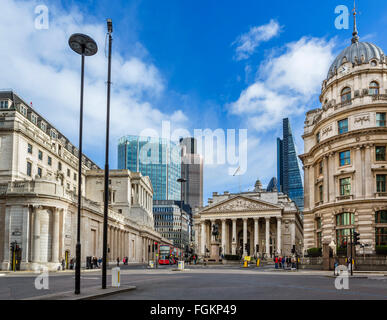 City of London (financial district) from Mansion House St with Bank of England (left) and Royal Exchange (centre), - Stock Photo