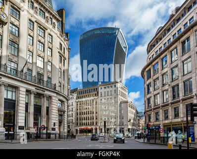The City of London from King William St looking towards the Walkie Talkie Building (20 Fenchurch St), London, England, - Stock Photo