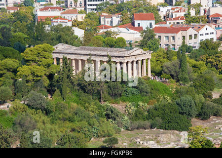 ATHENS, GREECE - OCTOBER 8, 2015: Temple of Hephaestus from Areopagus hill. - Stock Photo