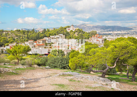 ATHENS, GREECE - OCTOBER 8, 2015: Outlook from Acropolis to Areopagus hill. - Stock Photo