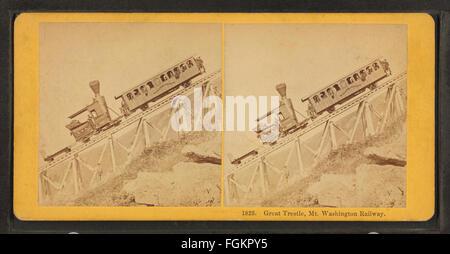 Great Tresle, Mt. Washington Railway, by Kilburn Brothers - Stock Photo