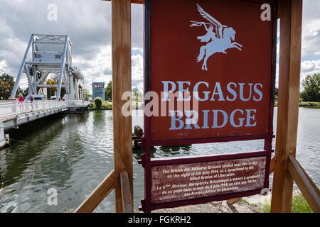Pegasus Bridge, Bénouville, Calvados, Basse-Normandie, France - Stock Photo
