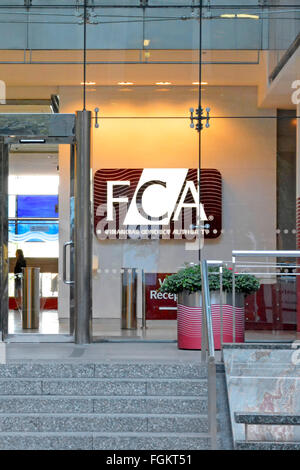 Financial Conduct Authority FCA London offices  entrance to Canary Wharf London headquarters building previously - Stock Photo