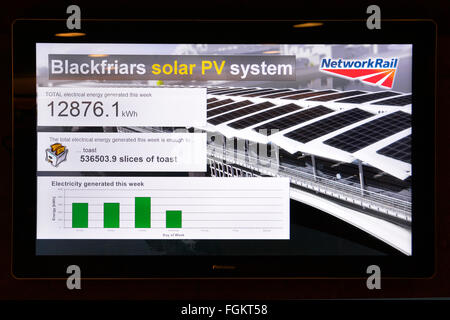Flat panel TV screen in Blackfriars train station London England UK shows updated energy data for PV solar panels - Stock Photo