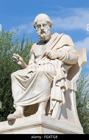 Athens - The statue of Plato in front of National Academy building by the Italian sculptor Piccarelli (from 19. - Stock Photo