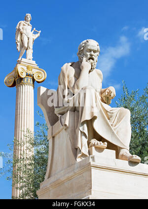 Athens - The statue of Socrates in front of National Academy building by the Italian sculptor Piccarelli (from 19. - Stock Photo