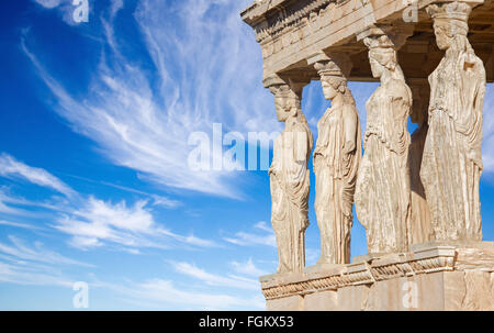 Athens - The statues of Erechtheion on Acropolis in morning light. - Stock Photo