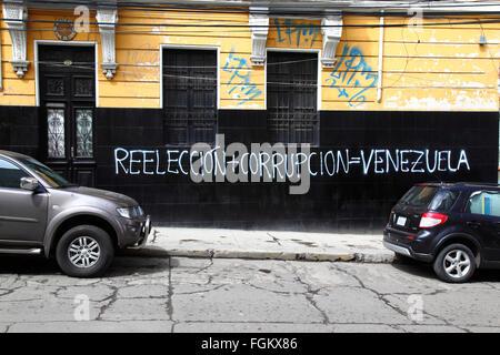 La Paz, Bolivia, 20th Februrary 2016. Re-election + Corruption = Venezuela graffiti on a wall in La Paz. On February - Stock Photo