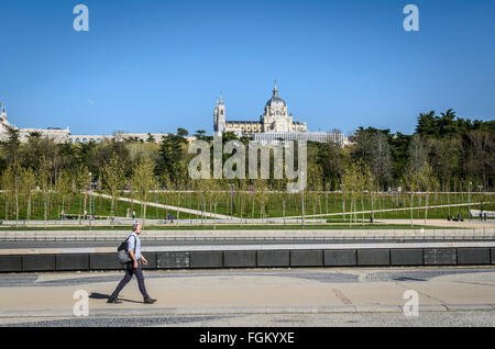 View from Manzanares river the Almudena cathedral, Madrid city, Spain - Stock Photo