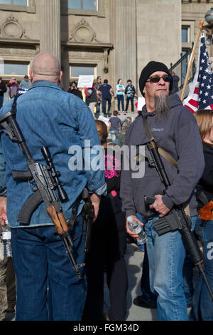 (20 February 2016) Gun owners rally at the Idaho State Capitol in Boise in support of a proposed 'Constitutional - Stock Photo