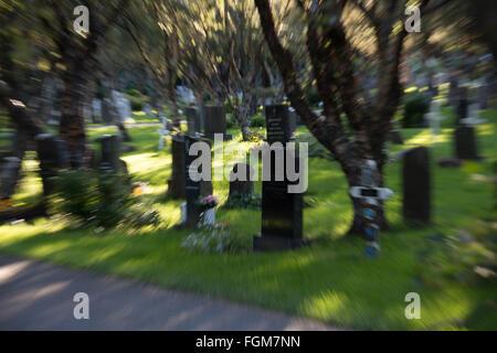 Cemetery in Reykjavik, Iceland - Stock Photo