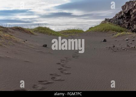 black beach in Iceland - Stock Photo