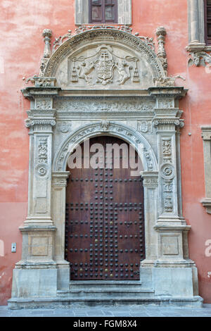 GRANADA, SPAIN - MAY 29, 2015: The portal of Palacio Arzobispal (Archbishop's Palace) from 17. cent. - Stock Photo