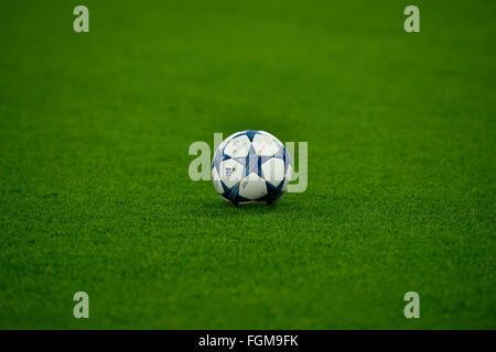 Match ball, Champions League, Allianz Arena, Munich, Bavaria, Germany - Stock Photo