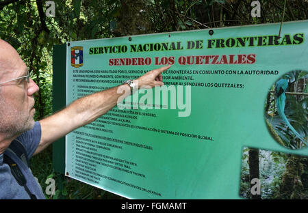 Tourist at Sendero los Quetzales Volcan Baru Panama - Stock Photo