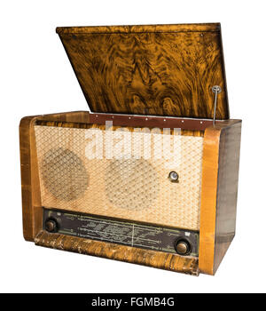 Radiogramophone (radio with the player) 1953. Russia.Is isolated on white - Stock Photo