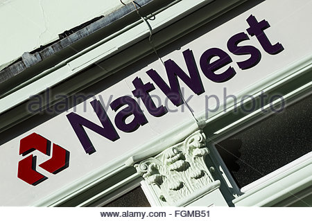 Sign and logo of NatWest (National Westminster) Bank, Blandford Forum, Dorset, England - Stock Photo