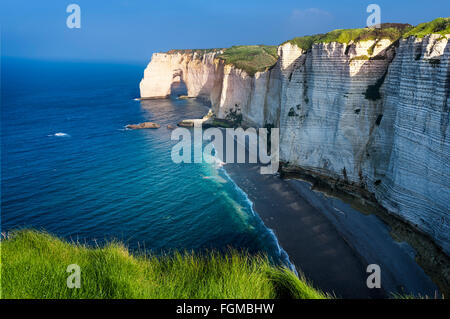Falaise d'Amont cliff at Etretat, Normandy, France - Stock Photo