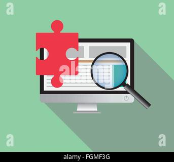 search solution via online browsing browse internet in a computer - Stock Photo