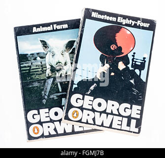 Paperback books Animal Farm and Nineteen Eighty Four by George Orwell - Stock Photo