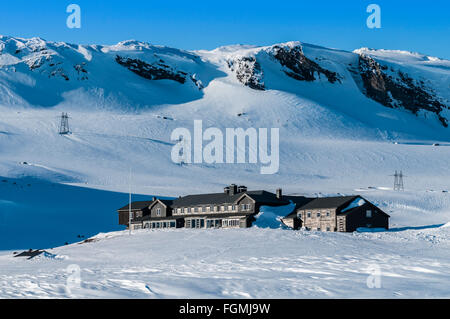 Hut of the DNT, a norwegian mountaineer club, at  Finse, highest railway station on railway Oslo-Bergen, Hardanger, - Stock Photo