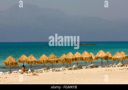 Griechenland, Kreta, Ireapetra, die unbewohnte Insel Chrissi hat traumhaft schöne Sandstrände. - Stock Photo