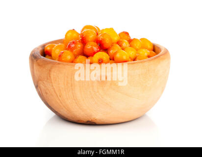 Fresh sea buckthorn berry in a wooden bowl - Stock Photo