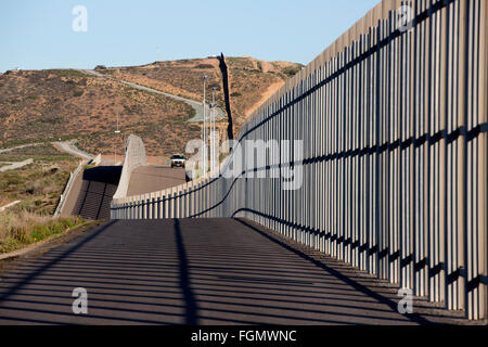 View from the American side of the US / Tijuana, Mexico border fence near San Ysidro, California - Stock Photo