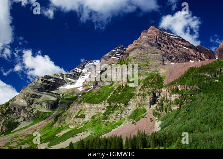 Maroon Bells Wilderness Blue Sky and Rocky Mountains Colorado - Stock Photo