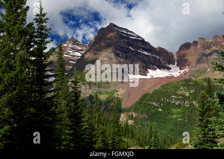 Maroon Bells Colorado Rocky Mountains summer from the Crater Lake Trail - Stock Photo