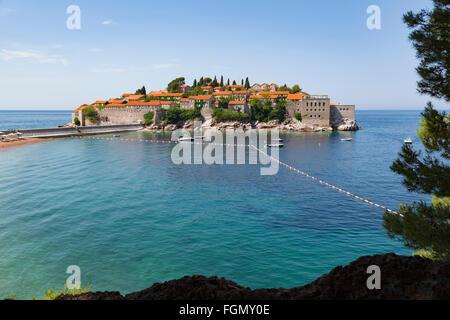 Sveti Stefan, near Budva, Montenegro. - Stock Photo