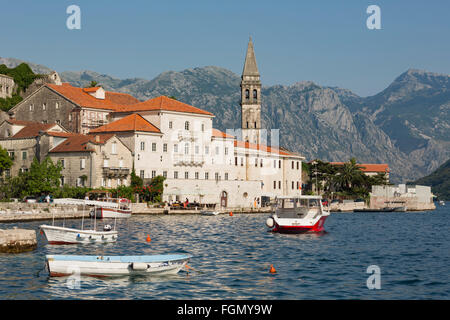 Perast, Kotor, Montenegro.  View of the town on the Bay of Kotor. - Stock Photo