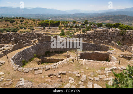 Mycenae, Argolis, Peloponnese, Greece.  Grave Circle A, dating from the 16th century BC, within the walls of the - Stock Photo