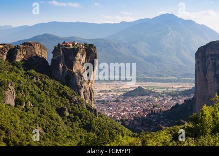 Meteora, Thessaly, Greece.  The Eastern Orthodox Holy Trinity Monastery. - Stock Photo