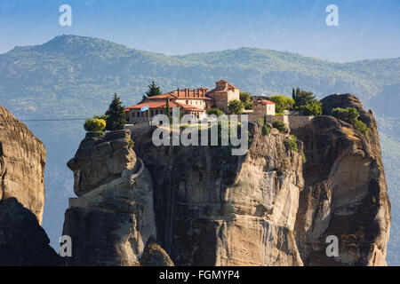 Meteora, Thessaly, Greece.  The Eastern Orthodox Holy Trinity Monastery. - Stock Photo