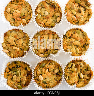 Handmade Savoury Blue Cheese Cupcakes on white background, aerial top view - Stock Photo
