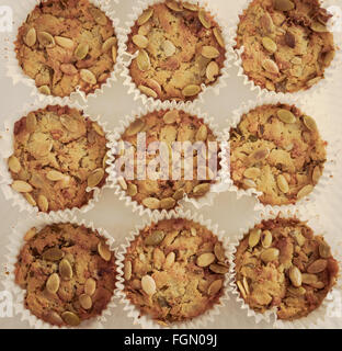 Handmade Savoury Blue Cheese Cupcakes on white background, aerial top view, toned filter applied - Stock Photo