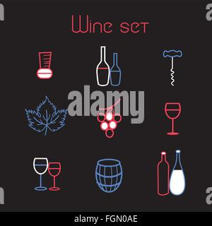 vector collection of graphic elements of the theme of wine on a white background - Stock Photo