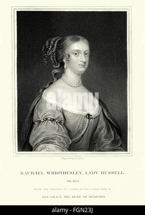 Portrait of Rachel Russell, Lady Russell  (nee Lady Rachel Wriothesley). 1636 to 1723 an English noblewoman, heiress, - Stock Photo