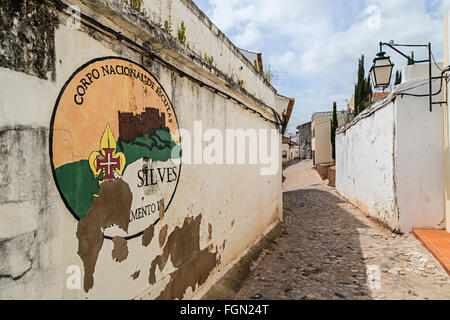 Town sign on wall, Silves, Algarve, Portugal - Stock Photo