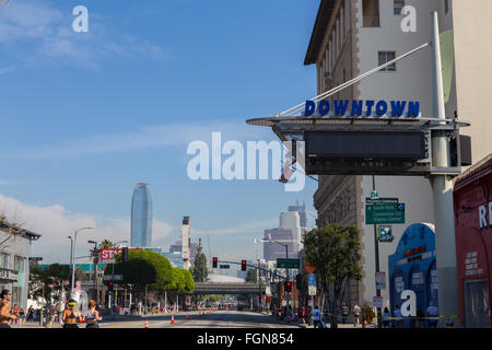 Downtown street sign on Figueroa street in Los Angeles California - Stock Photo