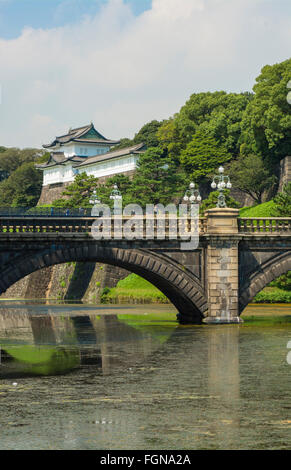 Tokyo Japan traditional Imperial Gardens in downtown city of traditional history of Emperor with bridge and temple - Stock Photo