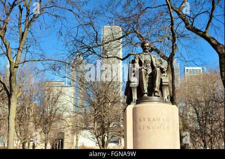 The Head of State bronze stature, also called Seated Lincoln, is located in Chicago's Grant Park. Chicago, Illinois, - Stock Photo
