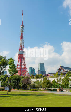 Tokyo Japan scenic of Tokyo Tower and the Zojo-ji Temple in Shiba neighborhood in downtown city view - Stock Photo
