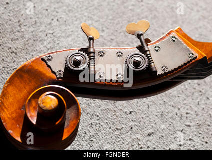 cello / stand up bass, tuning keys, head stock - Stock Photo