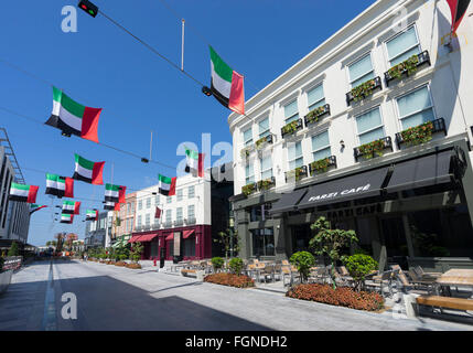 View of reproduction European street at new outdoor shopping arcade called Citywalk in Dubai United Arab Emirates - Stock Photo