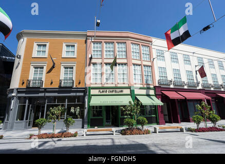 View of shops on reproduction European street at new outdoor shopping arcade called Citywalk in Dubai United Arab - Stock Photo