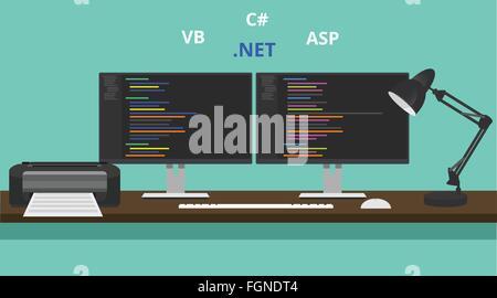 programmer workspace visual studio .net technology asp vb basic - Stock Photo